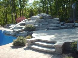 exterior sweet grey slate tile flooring patio with round stone