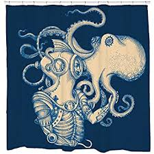 Octopus Bathroom Accessories by Amazon Com Kraken Shower Curtain Personalized Decor For Bathroom