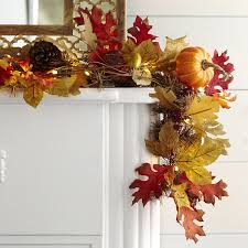 maple leaf garland with lights faux maple leaves pre lit garland pier 1 imports fall decorating