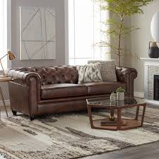 Leather Chesterfields Sofas Abbyson Tuscan Top Grain Leather Chesterfield Sofa Free Shipping