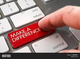 make a difference concept modern keyboard with button finger