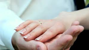 ring marriage finger of a wedding heterosexual with wedding rings on