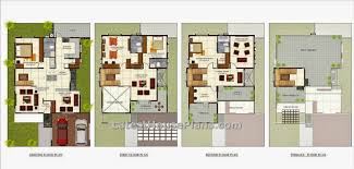 four floor four bhk independent villa house plan in 4200 sq ft