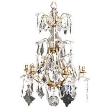 Replacement Glass Crystals For Chandeliers Antique Rococo Style Six Light Glass And Crystal Prism Chandelier