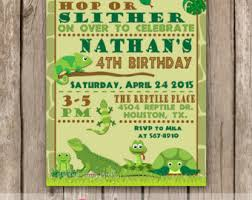 reptile birthday party thank you card frog snake iguana