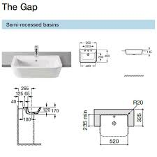 Roca The Gap White SemiRecessed Basin Mm Wide S - Roca kitchen sinks