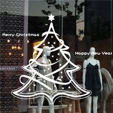 merry tree new year stores glass window ornament decal