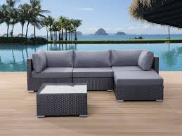 patio conversation set black wicker with cushions sano