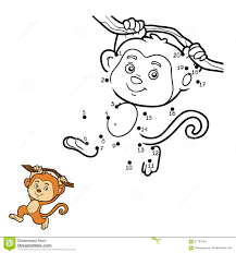 numbers game dot to dot monkey stock vector image 67703164