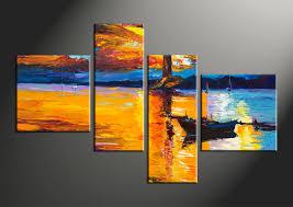 4 piece mountain boat ocean orange group canvas