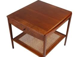mid century modern walnut and cane end tables or nightstands by