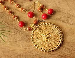gemstone necklace sets images Rudraksha ganesha red coral gemstone handmade golden necklace set jpg