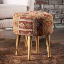 ottoman with patterned fabric misha round patterned fabric ottoman stool by christopher knight