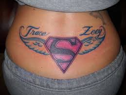 superman logo with wings on lower back