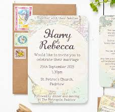 Wedding Invitation Sets Travel Inspired Map Wedding Invitation Set By Peardrop Avenue