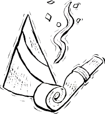 new years streamers new year s coloring page a party hat horn and streamers to help