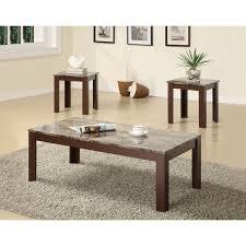 coaster 3 piece table set brown marble finish walmart com