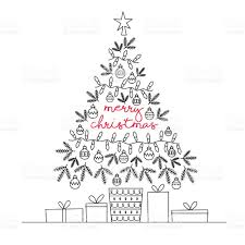 merry christmas tree greeting card vector line illustration stock