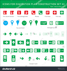 fire safety icons evacuation plan stock vector 394132885