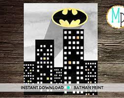 Batman Boys Bedroom Batman Skyline Etsy