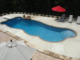 Small Patio Umbrellas by Swimming Pool Fiberglass Swimming Pool With 3 Patio Lounge Chairs