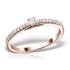 inel de logodna cu diamant inel de logodna aur roz 18k si diamante 0 10ct si 0 14ct