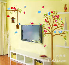 children s room wall stickers cartoon cute decorative bird cage children s room wall stickers cartoon cute decorative bird cage tall tree butterfly wall sticker jm7157 adesivo de parede in wall stickers from home