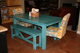 Ana White Farmhouse Table Bench Ana White Tuscan Turquoise Farm Table And Rustic Benches Diy