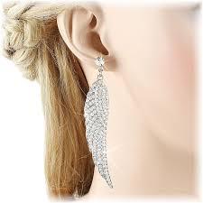 angel wing earrings silver angel wings earrings diamante danglers