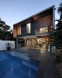 architecture beautiful contemporary house design with street grey tile side pool floor with plants decor