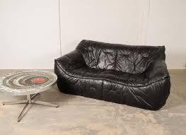 mid century roche bobois black leather soft shell sofa by hans