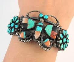 Rs Handmade - zuni handmade sterling silver multi inlay butterfly cuff