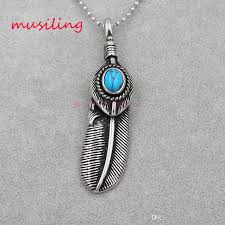 blue stainless steel necklace images Wholesale goros feathers stainless steel necklace pendants jpg