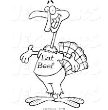 vector of a cartoon turkey bird wearing an eat beef shirt