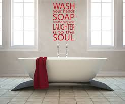 delightful bathroom wall art with red stickers design attached in