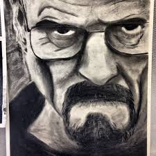 finished charcoal drawing of walter white imgur