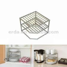 Kitchen Cabinet Plate Organizers Kitchen 3 Tier Cabinet Corner Dish Shelf Buy Kitchen Cabinet