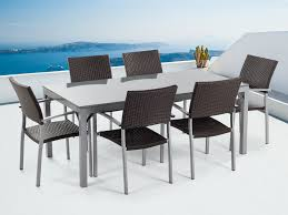 garden table and chairs 6 seater grey granite brown chairs