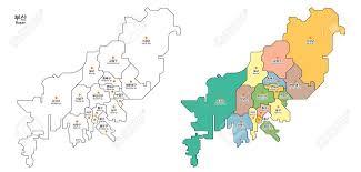 pusan on map map of district busan pusan city south korea royalty free