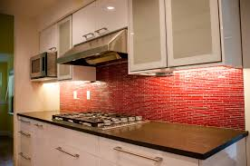Backsplash Kitchen Designs by Modern False Red Brick Backsplash Kitchen Design With Lighting