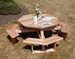 How To Build A Round Wooden Picnic Table by Red Cedar Octagon Walk In Picnic Table