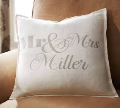 personalized pillow personalized mr mrs pillow cover pottery barn