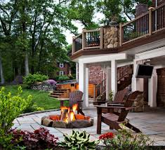 outdoor patio ideas great outdoor patio ideas with fire pit area and wood deck railing