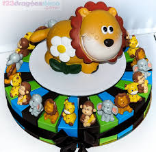 deco jungle bapteme gâteau 24 boîtes lion jungle à dragées thèmes animaux jungle