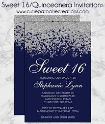 sweet 16 invitations navy blue and silver sweet 16 invitations quinceanera invitation