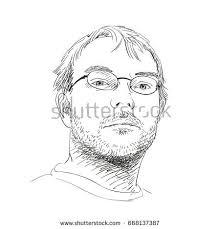 portrait handsome young unshaven man glasses stock vector