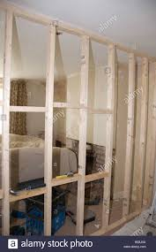 wall partition stud partition wall timber framework showing noggins stock photo