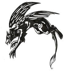 tribal pouncing griffin tattoo design by sanada ookami