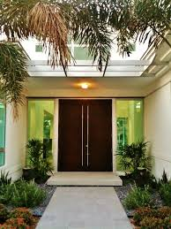example of a trendy front door design in miami with a double front