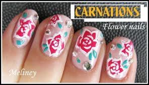 flower nails manicure carnation nail art design tutorial for